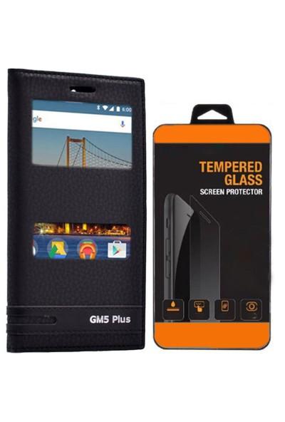 Exclusive Phone Case General Mobile Gm5 Plus Kılıf Kapaklı Akıllı Pencereli Elite Tempered Glass