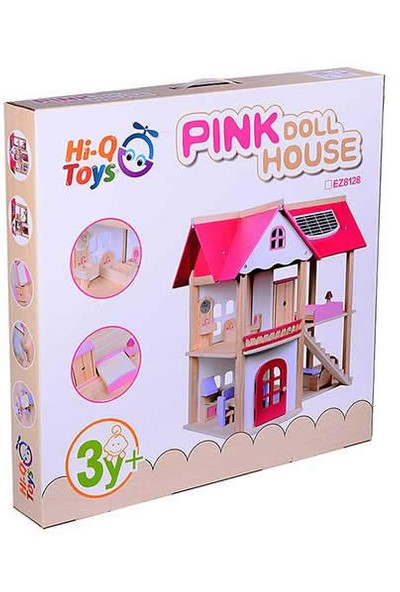 Mobilyalı Ahşap Oyuncak Pembe Bebek Oyun Evi Pink Doll House