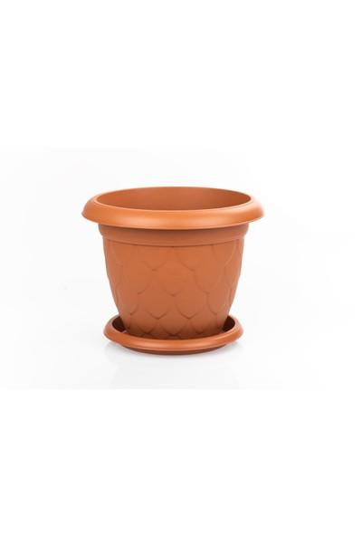 Mini Garden Damla Tabaklı Saksı Seti 5 LT Kahverengi