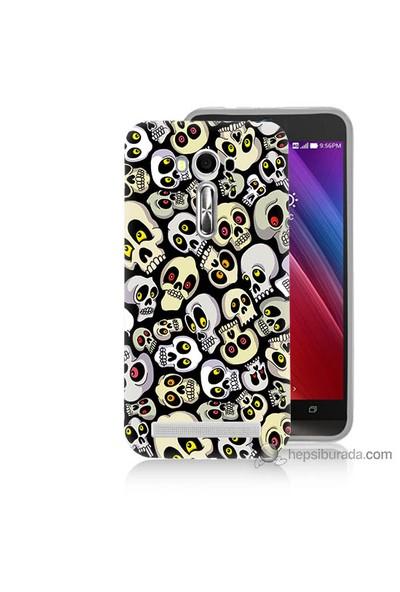Bordo Asus Zenfone 2 Laser 5.0 Kapak Kılıf Üzgün Kuru Kafalar Baskılı Silikon