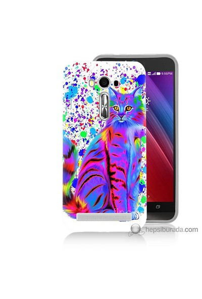Bordo Asus Zenfone 2 Laser 5.5 Kapak Kılıf Renkli Kedicik Baskılı Silikon