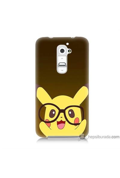 Bordo Lg G2 Kapak Kılıf Gözlüklü Pikachu Baskılı Silikon