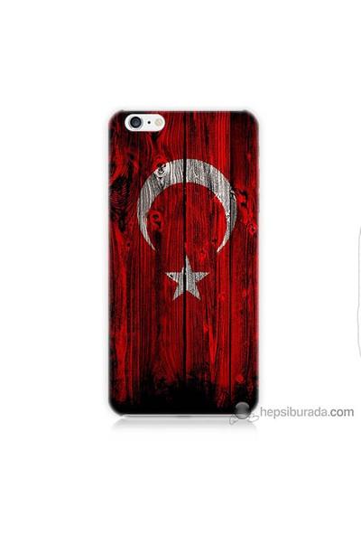 Bordo iPhone 6 Plus Kapak Kılıf Türk Bayrağı Baskılı Silikon