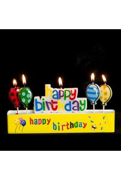 Happy Candle 5'li Renkli Happy Birthday ve Balon Mum Seti mm01