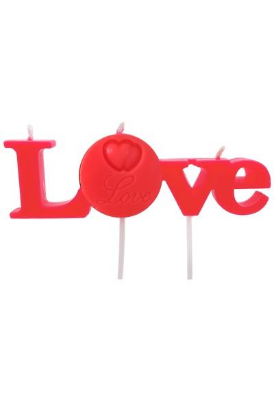 Happy Candle Kırmızı Love Yazılı Mum mm03