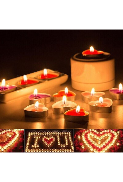 Happy Candle 24 adet Kalp Şeklinde Tea Light Mum mm05-24
