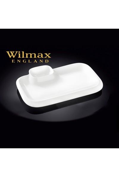 Wilmax Dikdörtgen Sosluklu Yemek Tabağı, 36*25Cm.