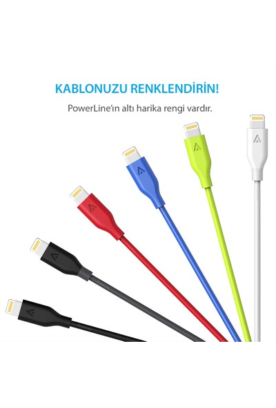 Anker Powerline Lightning Kablo 0.9 Metre iPhone Şarj/Data Kablosu MFI Lisanslı - Kırmızı