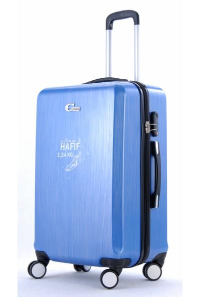 Gnza 8103 4 Tekerlekli Orta Boy Valiz Mavi