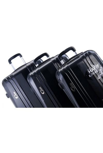 Gnza 8104 4 Tekerlekli 3'Lü Valiz Seti Siyah