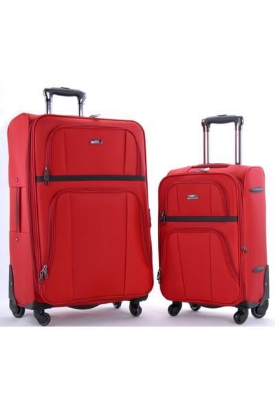 cbd7ad12382e2 Ççs 105 4 Tekerlekli Büyük Ve Kabin Boy 2'Li Valiz Seti Kırmızı ...