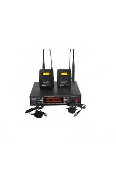 Doppler Dm252B Yaka Tipi Çiftli Telsiz Mikrofon