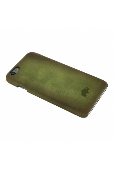 Burkley Apple iPhone 6 Plus / 6S Plus Snap On Gerçek Deri Green Rubber Kılıf