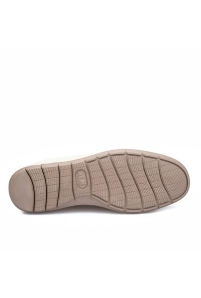 Cabani Lazerli Günlük Erkek Ayakkabı Bej Floter Deri