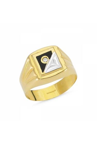 Sembolgold 14 Ayar Altın Erkek Yüzük Siyah Mineli Sgb-84380