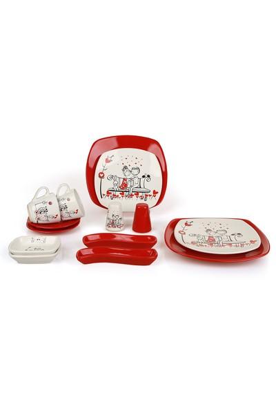 Keramika Tatlı Düş Köşem 14 Parça 2 Kişilik Seramik Kahvaltı Takımı Kırmızı