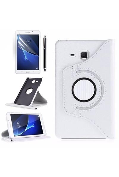 Exclusive Phone Case Samsung Galaxy Tab A T280 Kılıf 360 Standlı Beyaz+Film+Kalem