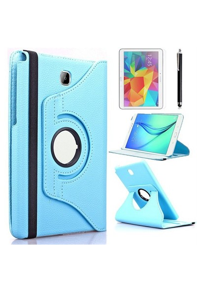 Exclusive Phone Case Samsung Galaxy Tab S2 T710 Kılıf 360 Standlı Turkuaz+Film+Kalem