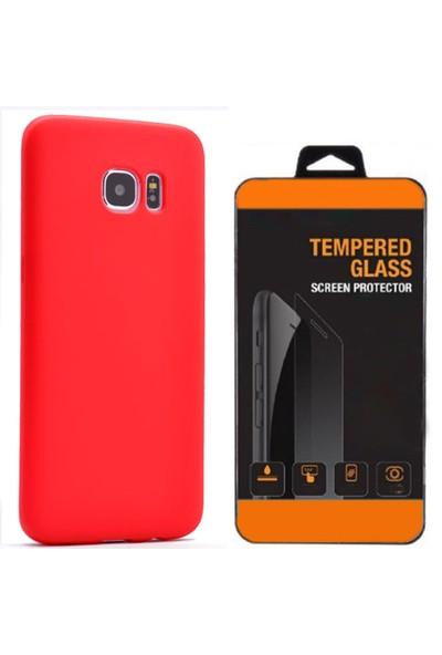 Exclusive Phone Case Samsung Galaxy S7 Kılıf Mat Silikon +Tempered Glass