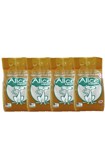 Alice Kartopu İnce Taneli Topaklaşan Pudra Kokulu Kedi Kumu 4x5 Kg