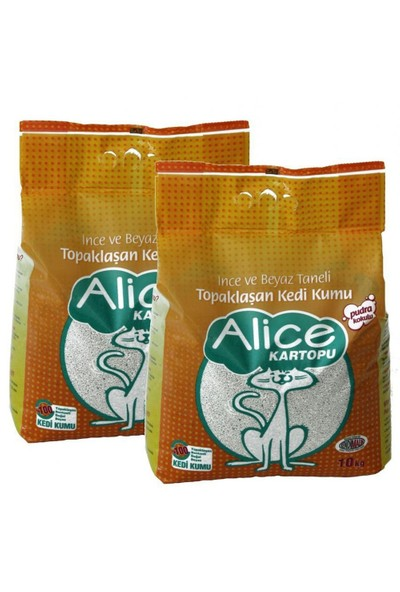 Alice Kartopu İnce Taneli Topaklaşan Pudra Kokulu Kedi Kumu 2x10 Kg