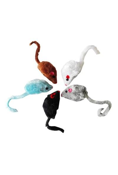 Peluş Tüylü Fare Kedi Oyuncağı 12*5*2 cm 3 Adet Renkli