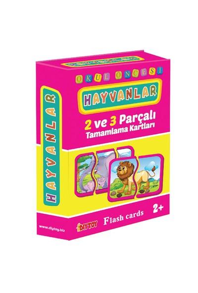 Dıy Toy Okul Öncesi Hayvanlar 2 ve 3 Parçalı Tamamlama Kartları