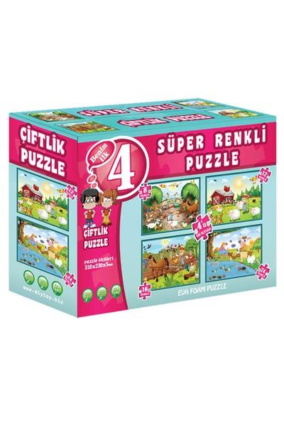Dıy Toy Çiftlik Süper Renkli Puzzle (4 Adet Puzzle)