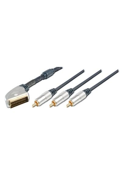 Ev Sinema Sistemleri İçin Yüksek Kaliteli Scart Kablosu, Scart 21 Pin Erkek <=> 3 X Rca Erkek (1 X Görüntü (Video İçin) , 2 X Ses (Audio İçin), Ferrite Filtreli, 1.50 Metre