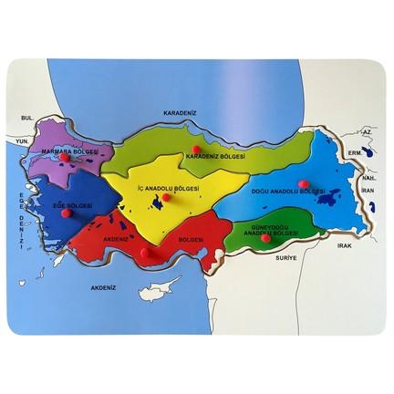 Bu Bu Ahşap Puzzle Türkiye Haritası Bölgeler 30x215cm Fiyatı