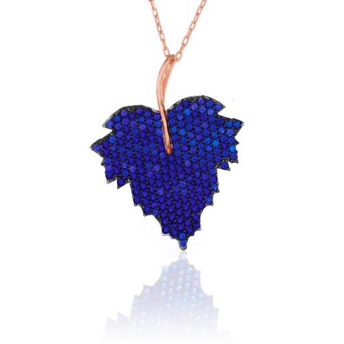 Azuris Mavisi Yaprak Kolye