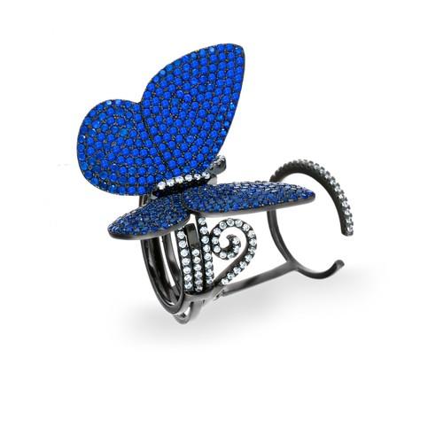Azuris Mavisi Kanat Çırpan Kelebek Yüzük