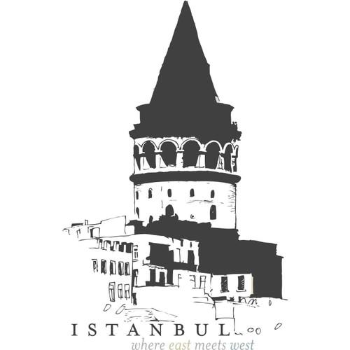 I Love My Wall İstanbul Galata Kulesi Duvar Sticker ( Sticker hediyeli! )