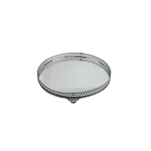 Akay Ev Aynalı Gümüş Cam Tepsi 35 Cm