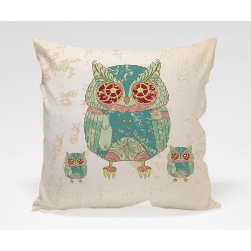 Dekorjinal Baykuş Yastık Kılıfı OWL056