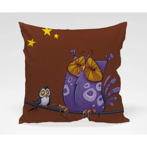 Dekorjinal Baykuş Yastık Kılıfı OWL030