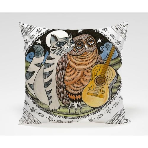Dekorjinal Baykuş Yastık Kılıfı OWL012