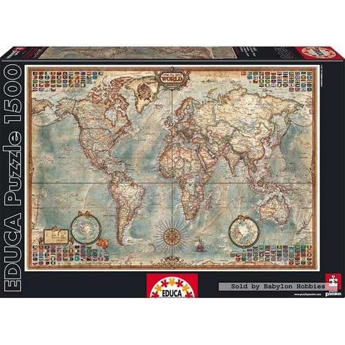 Educa 1500 Parça Puzzle Political Map of the World