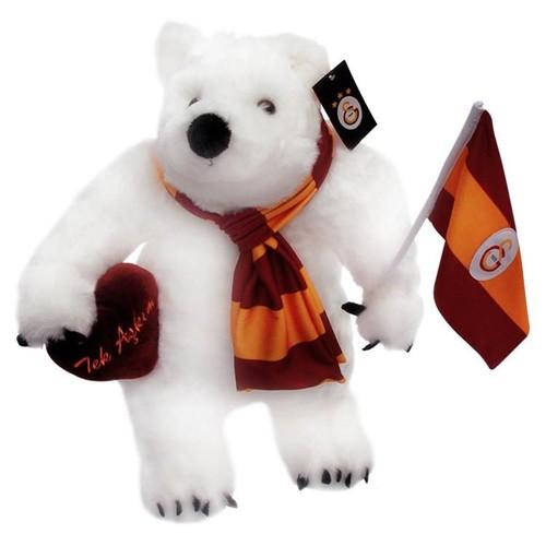 Galatasaray Bayraklı ve Kalpli Kutup Ayısı Peluş Oyuncak