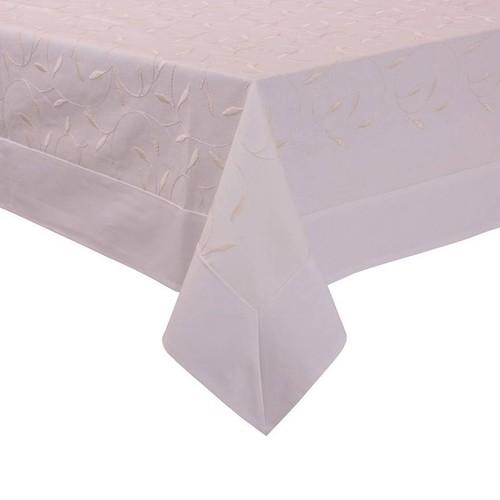 YastıkMinder Kemik Yaprak Nakışlı Dikdörtgen Masa Örtüsü - 160x220 cm