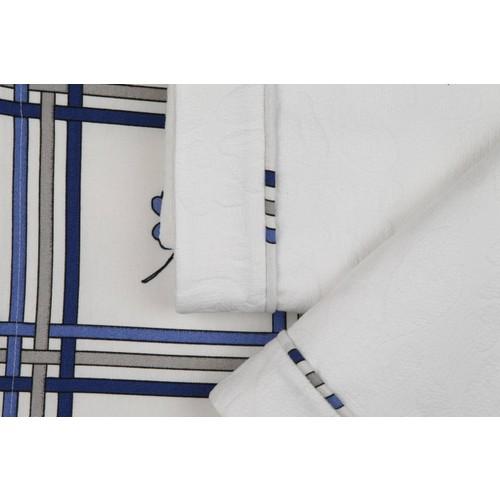 YastıkMinder Koton Beyaz Kumaş Lacivert Eose Aplikeli Pike Takımı