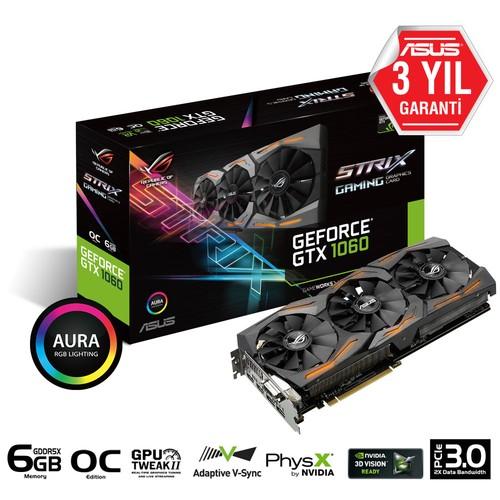 Asus ROG STRIX Nvidia GeForce GTX 1060 OC 6GB 192Bit GDDR5 (DX12) PCI-E 3.0 Ekran Kartı (STRIX-GTX1060-O6G-GAMING)