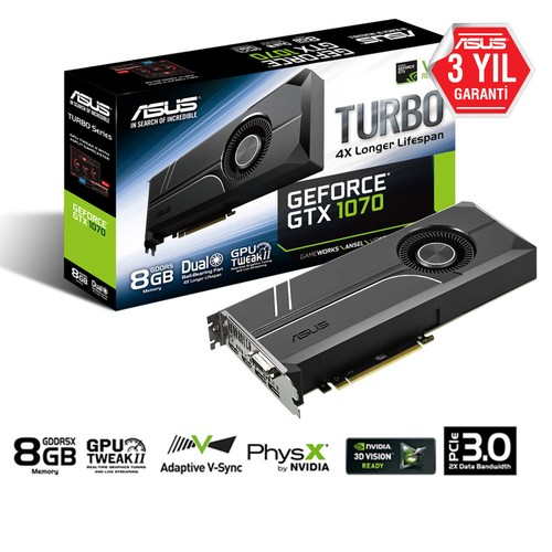 Asus TURBO Nvidia GeForce GTX 1070 8GB 256Bit GDDR5 (DX12) PCI-E 3.0 Ekran Kartı (TURBO-GTX1070-8G)