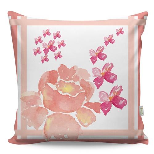 Gravel Dekoratif Baskılı Yastık - Pembe Çiçek