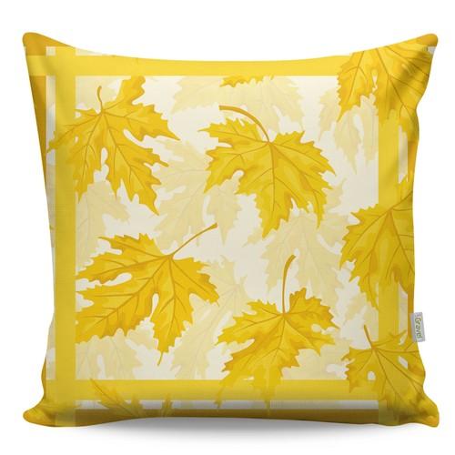 Gravel Dekoratif Baskılı Yastık - Sarı Yaprak Desen