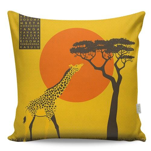 Gravel Dekoratif Baskılı Yastık - Zürafa