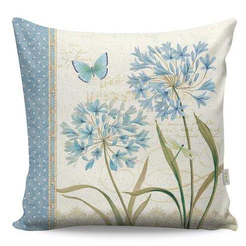 Gravel Dekoratif Mavi Kelebek Baskılı Yastık