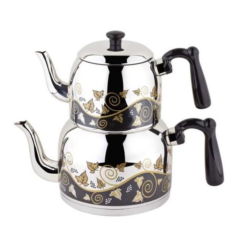 Özkent 371 Menekşe Desenli Mini Çaydanlık Siyah