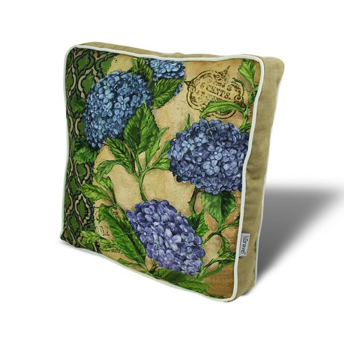 Gravel Mavi Çiçek Temalı Çok Amaçlı Yastık - Minder