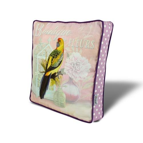 Gravel Kuş Temalı Çok Amaçlı Yastık - Minder Lila